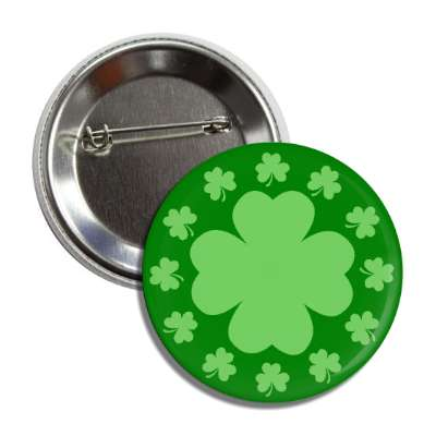 shamrock dark green four leaf clover button
