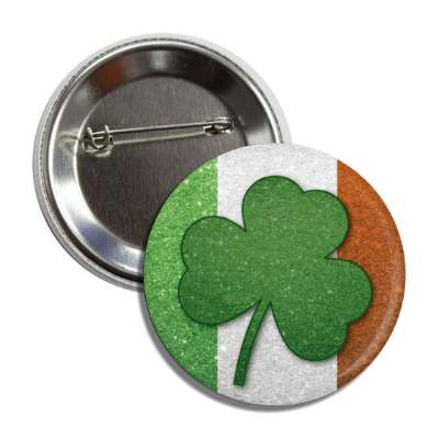 shamrock irish flag sparkles button