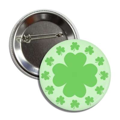 shamrock light green four leaf clover button