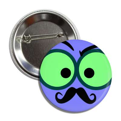 smiley curly mustache green eyes blue button