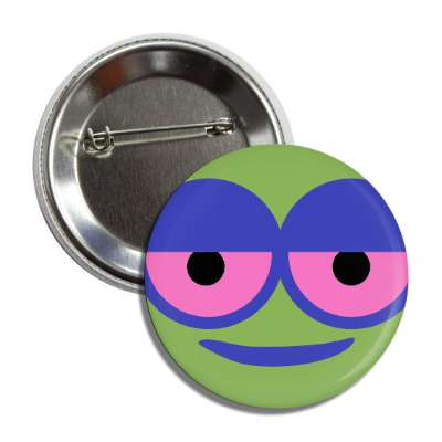 smiley eyelids half way open green blue button