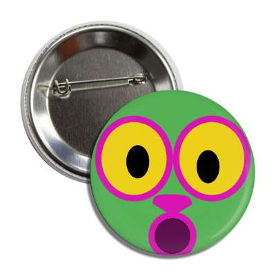 smiley green mouth open animal nose button