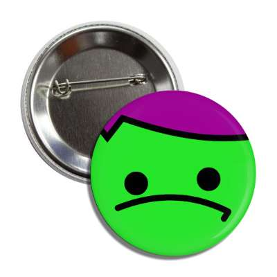 smiley green purple disappointed button