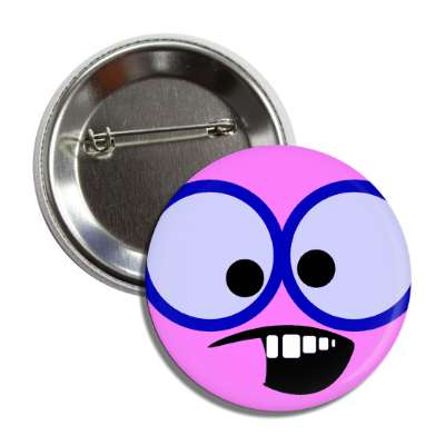 smiley magenta google eyes teeth button