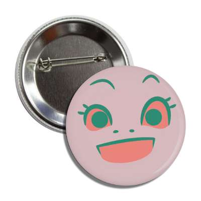 smiley pink happy eyelashes button