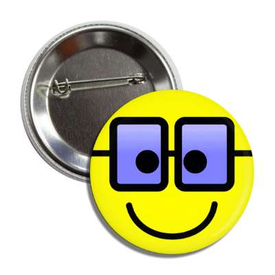 smiley rectangle glasses yellow blue button