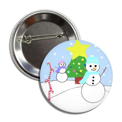 snowmen outside candy canes tree star snow button