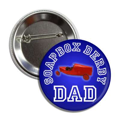 soapbox derby dad blue button