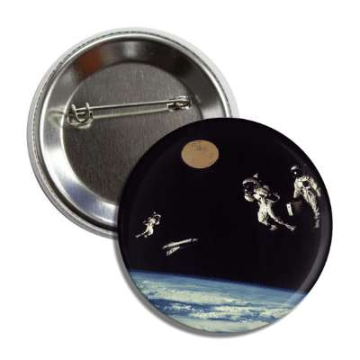 space party astronauts floating button