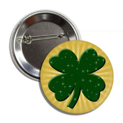 sparkly four leaf clover button