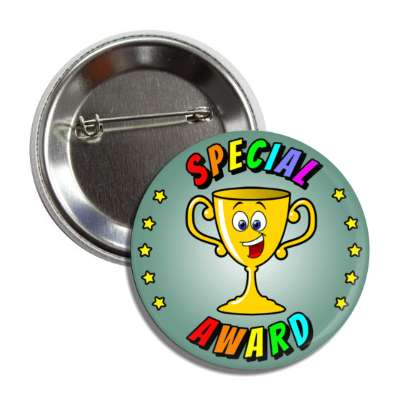 special award smiley student trophy stars button