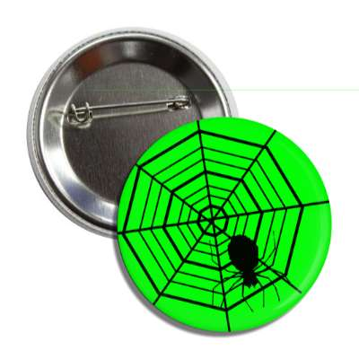 spiders web green silhouette button