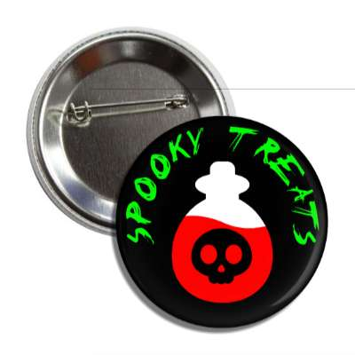 spooky treats red skull potion button