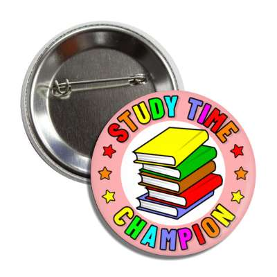 study time champion colorful book stack button