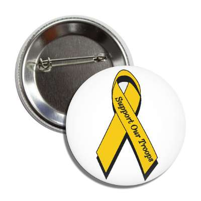 support our troops yellow awareness ribbon white button