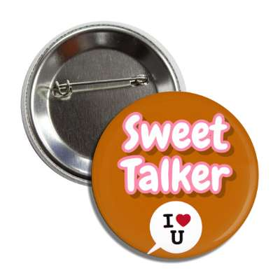 sweet talker brown chat bubble i heart you button