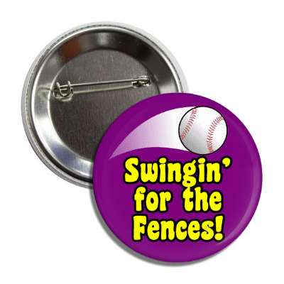 swinging for the fences thrown baseball purple button