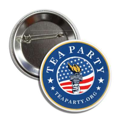 tea party blue flag liberty torch button