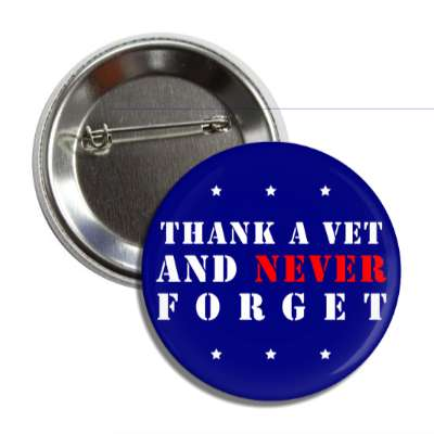 thank a vet and never forget blue stars button