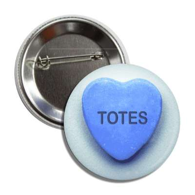 totes blue valentines day heart candy button