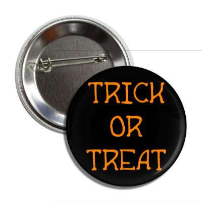 trick or treat black orange button