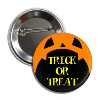 trick or treat pumpkin orange open mouth button