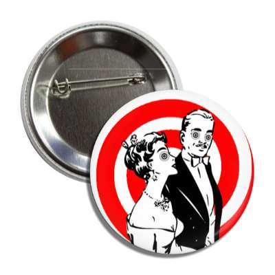trippy retro couple red swirl button