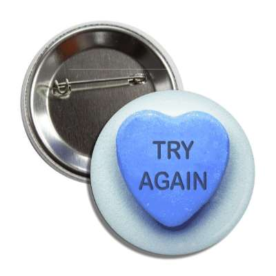 try again valentines day heart candy blue button