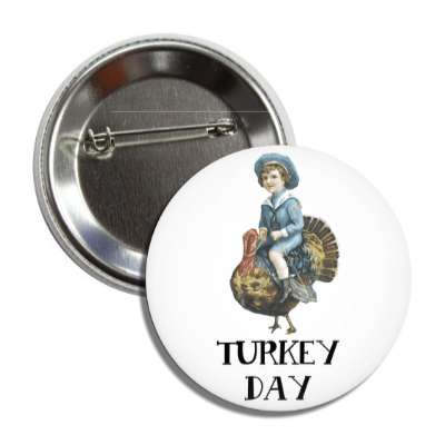 turkey day vintage child fun button
