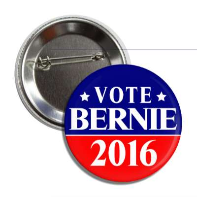 vote bernie 2016 red dark blue line button