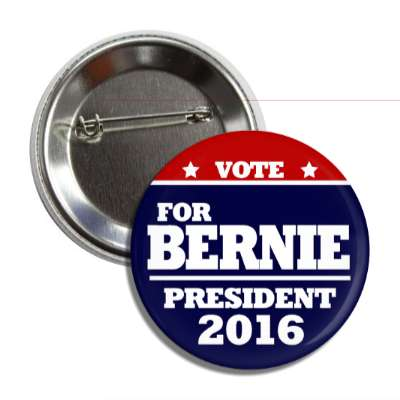 vote bernie 2016 red top dark blue bottom button