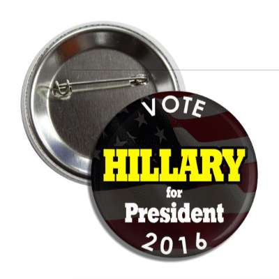 vote hillary 2016 black yellow button