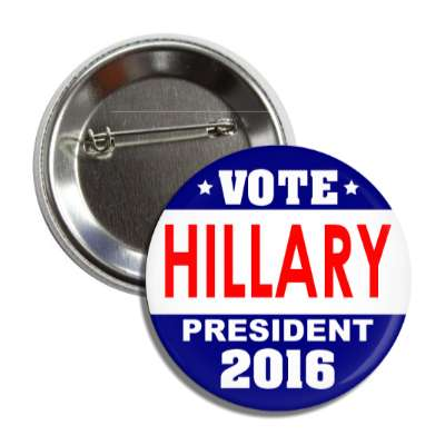 vote hillary 2016 blue white middle button