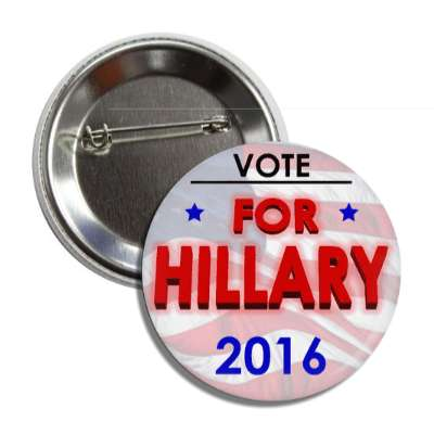 vote hillary 2016 light flag red button