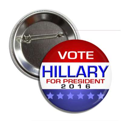 vote hillary 2016 modern red white blue button
