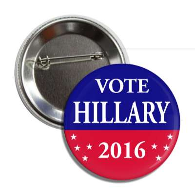 vote hillary 2016 red blue stars button