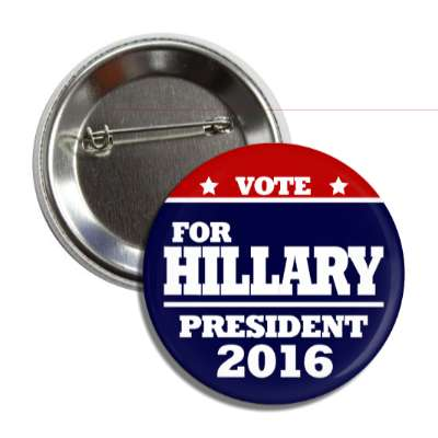 vote hillary 2016 red top dark blue bottom button