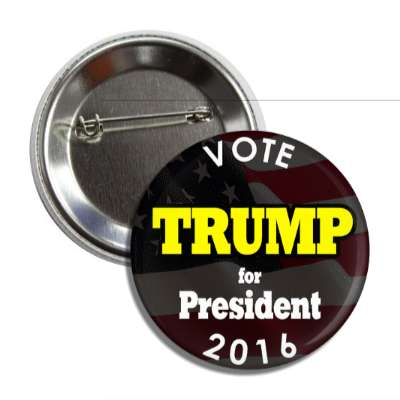 vote trump 2016 black yellow button