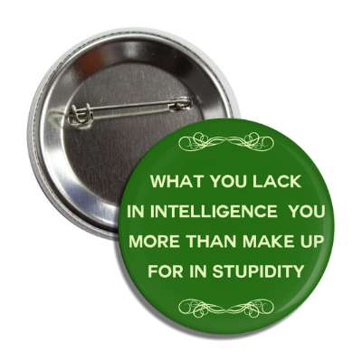 what you lack in intelligence you more than make up for in stupidity button