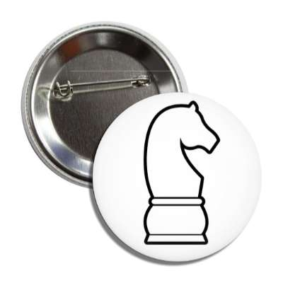 white knight chess piece button