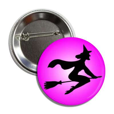 witch broom silhouette purple button