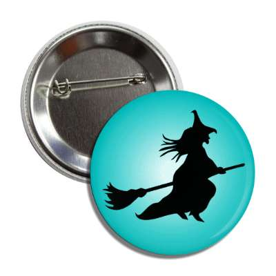 witch broom silhouette teal button