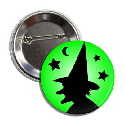 witch silhouette green stars moon button
