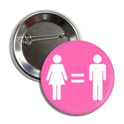 women and men equality pink symbols button