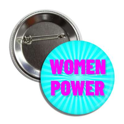 women power aqua magenta rays button