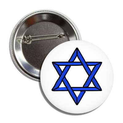 star of david blue black white button