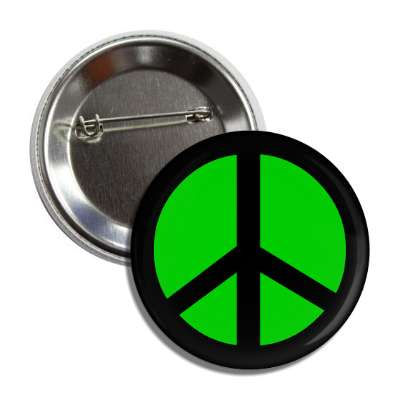 peace sign black green button