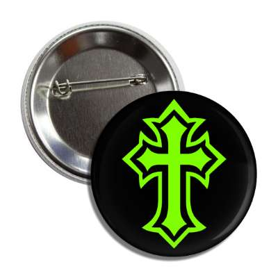 simple cross outline green black button
